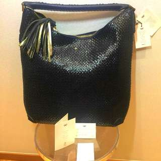 Brand new Anya Hindmarch navy blue leather hobo bag