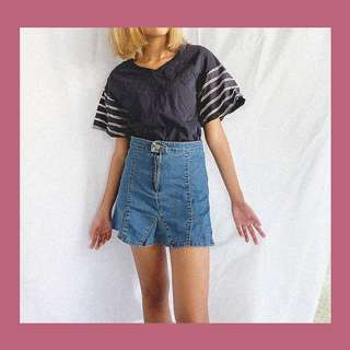 Top & Denim Skirt Set
