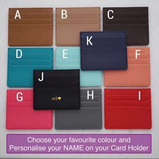 LM010- Custom Cardholder Faux Leather Card Holder 7 Slots Free Personalised Name or Initial - Made To Order - Multi colours -6mm Gold Text height
