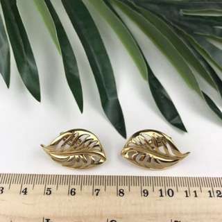 Givenchy earring 耳夾 樹葉鏤空復古中古
