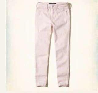 Hollister 粉紅色高腰七分超貼身款牛仔褲