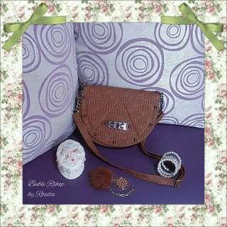 Tas Wanita Tali Panjang Mini Sling Bag Coklat Lokal