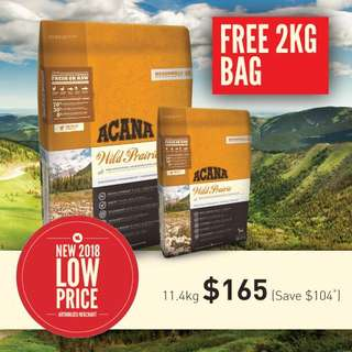 Acana Wild Prairie Dog 11.4kg+2kg Free