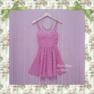 Dress Midi Dress Mini Dress Kemben Bustier Polka Pink