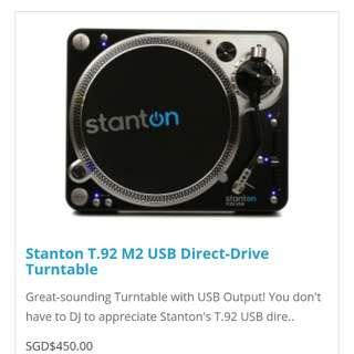 Stanton T.92 M2 USB Direct-Drive Turntable