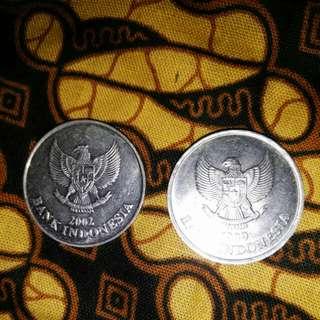 Koin Rp 100 th 1999 dan 2002