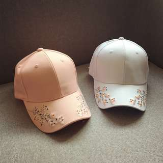 Side embroidery rose cap