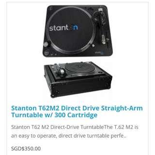 Stanton T62M2 Direct Drive Straight-Arm Turntable w/ 300 Cartridge