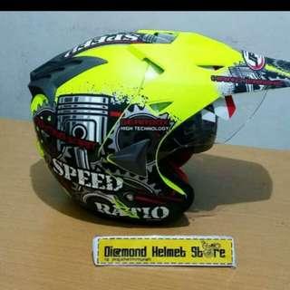 Helmet JPR semicross double visor Speed ratio Yellow