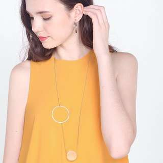 FAYTHLABEL MIYU LONGLINE CIRCLE NECKLACE IN GOLD