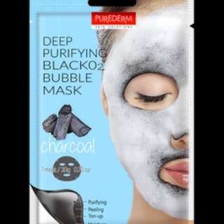 PUREDERM Deep Purifying Black O2 Bubble Mask ( charcoal )