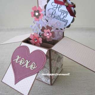 Pink Floral Birthday Pop-Up Box Card