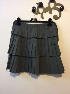 灰色低腰百摺膝上裙 skirt