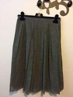 日本灰色波點及膝半截裙 skirt