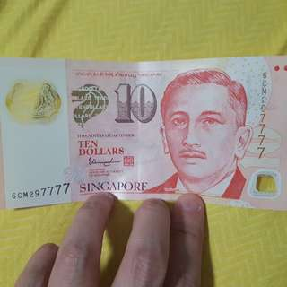 Singapore $10 dollars note (nice 7777 numbers)