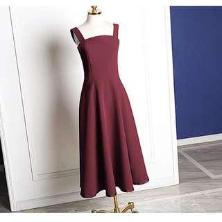 Maroon red long dress
