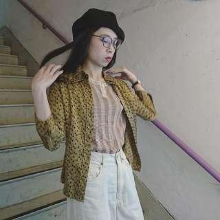 古著淺黃混色水滴圖案絲質裇衫 (FW: 150)