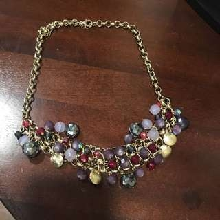 Purple/Red Jewels and Gold Pendants Statement Necklace