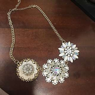 3 Flower Jewel Statement Necklace