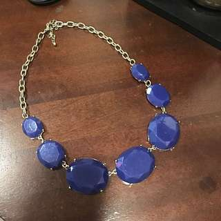 Blue Jewel Necklace with Gold Chain