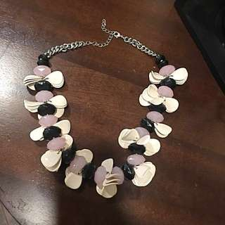 Flower Petal Necklace with Black/Pink Jewels