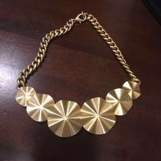 Matte Gold Pleated Statement Necklace