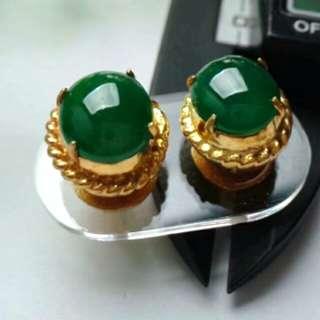 🍀Grade A 冰糯 Full Green Cabochon Jadeite Jade Earrings🏵️