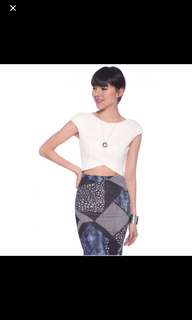 Love bonito Rivka Textured Crop Top in White & Cobalt Blue