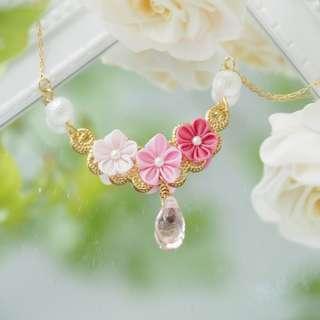 【甜美滿分】漸層粉紅色真絲 / 正絹 小花琉璃珠 16K 鍍真金項鍊, 頸鏈 つまみ細工: 日系和風手工布花