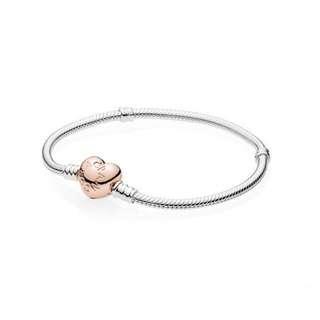 Pandora Bracelet Rose Gold Heart Clasp