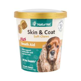 NaturVet Skin & Coat Plus Breath Aid Soft Chew Cup 70 cts