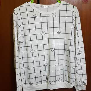 BN White Grid Long Sleeve Top