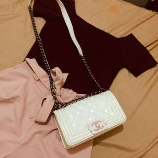 Maroon Crop top; Candy Shorts ; FREE CHANEL BAG!!!