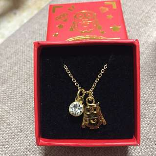 Minions gold plate and cz diamond necklace