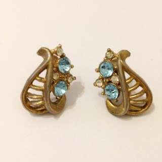 古董飾品-水藍卷卷扇型螺旋耳夾