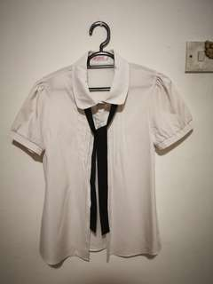 White Blouse with ribbon tie