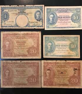 ⭐️ 6 Pcs King George Lot! 1941 Malaya King 👑 George 10 Cents, 20 Cents & $1, Total 6 Pcs Lot! 77 Years Old Banknotes ⭐️ Not For Fussy Buyer
