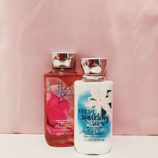 bath and body works body lotion and shower gel