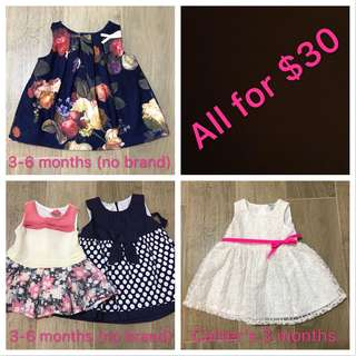 3-6 months pre-own baby girl dresses