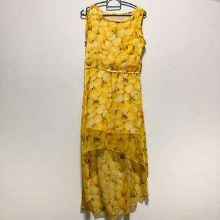 Yellow fruity dress