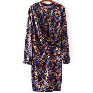 🔥Inspired Zara fold Printing long sleeve Dress