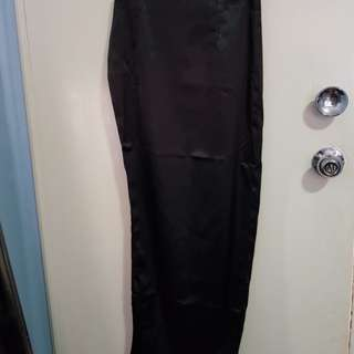 Meshki black satin long skirt with a high thigh split sz Small