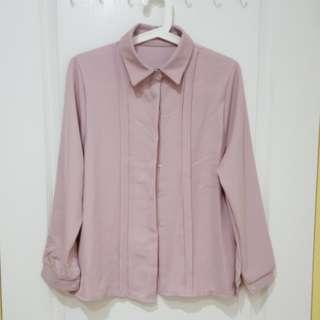 🚚 韓國製乾燥玫瑰粉色皮粉色隱藏排扣襯衫