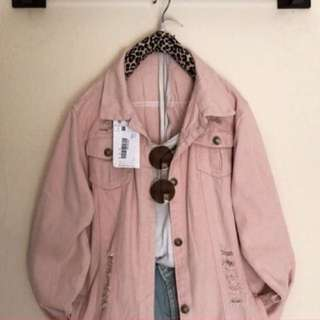 Denim Baby Pink Dusty Ripped Overszied Jacket