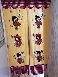可愛日式布掛門簾、窗簾