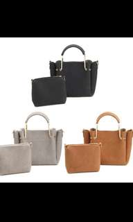 (PO) Ladies 2 Set Leather Handbag