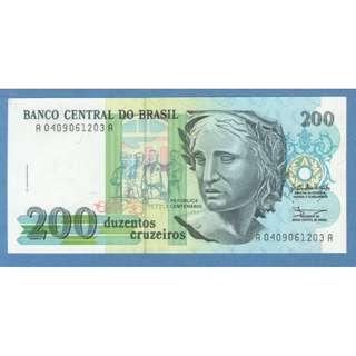 1990 Brazil 200 Cruzeiros UNC $2