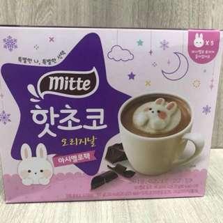 韓國 Mitte 星空雪花版 漂浮萌兔棉花糖可可(熱可可10包+棉花糖5個)