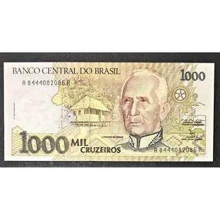 1990 Brazil 1000 Cruzeiros UNC $5