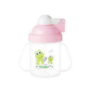 🚚 全新。DOOBY大眼蛙🐸彈跳喝水杯240ml粉色